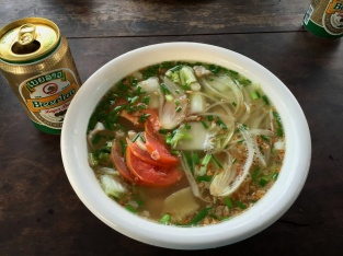 Christmas dinner - Noodle Soup and Beer Lao