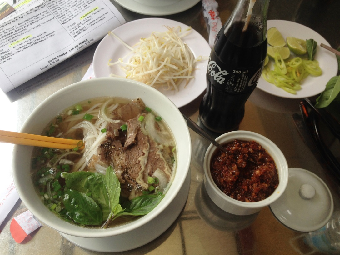 Pho (beef with noodles) with sauteed spices - a classic