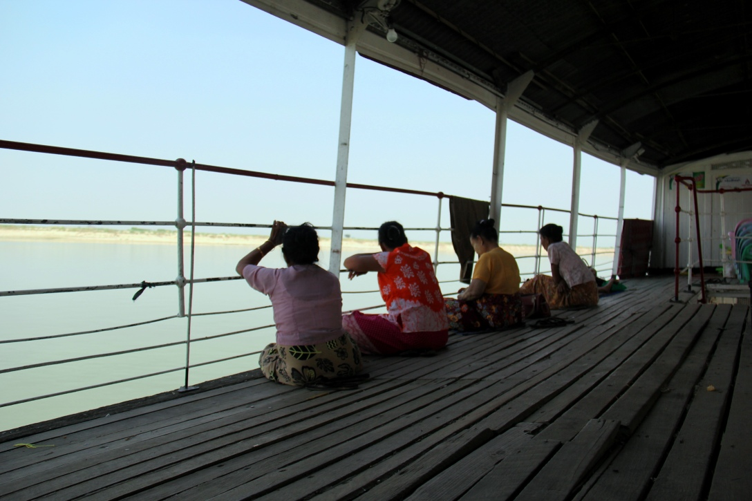 a few fellow passengers enjoying our view of the Irrawaddy river