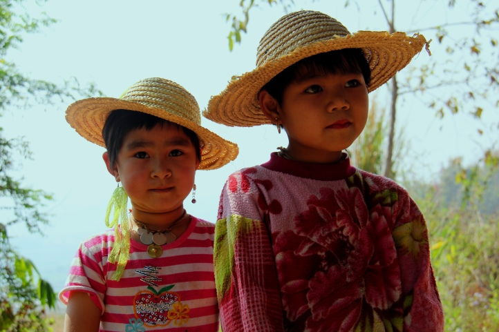 little Shan girls who followed us on our hike in Hispaw, Burma
