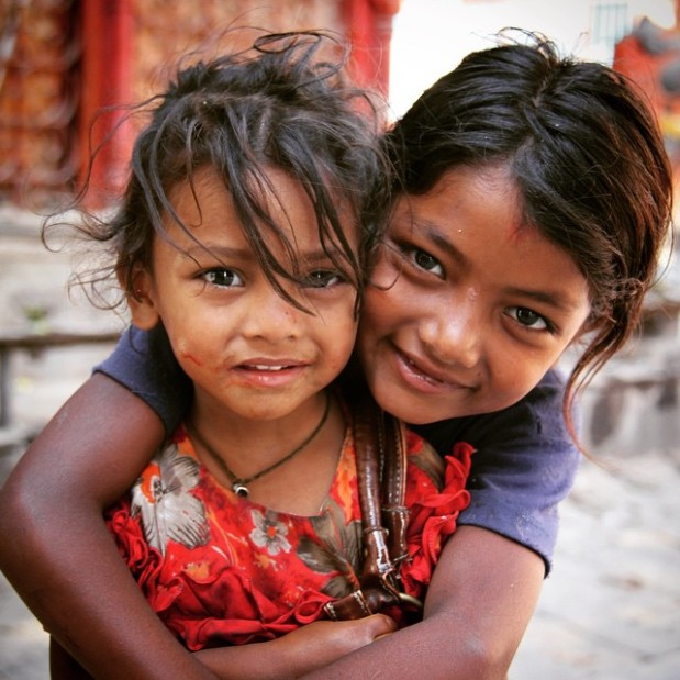 homeless girls at a temple in Kathmandu