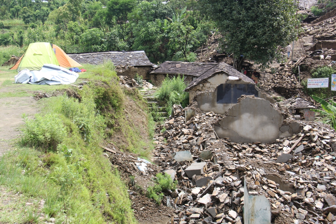 several classrooms now in ruins at the Himalaya School.