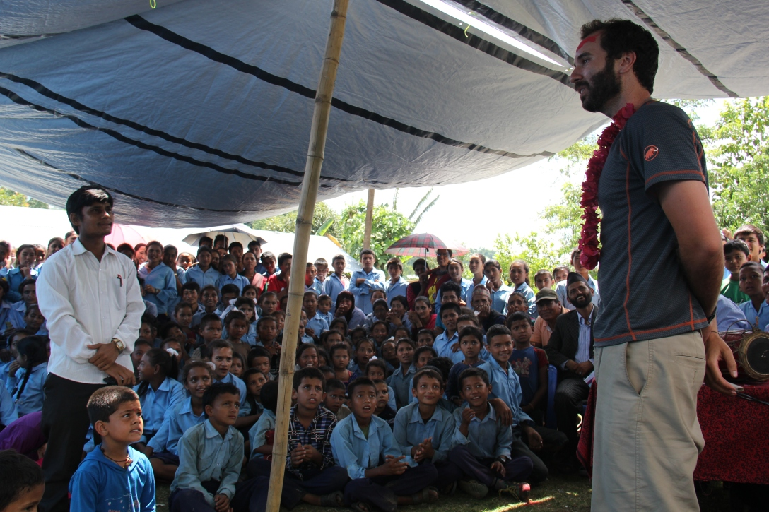 3 minutes before this photo. Prem told me I was expected to give a speech to the school. I told them