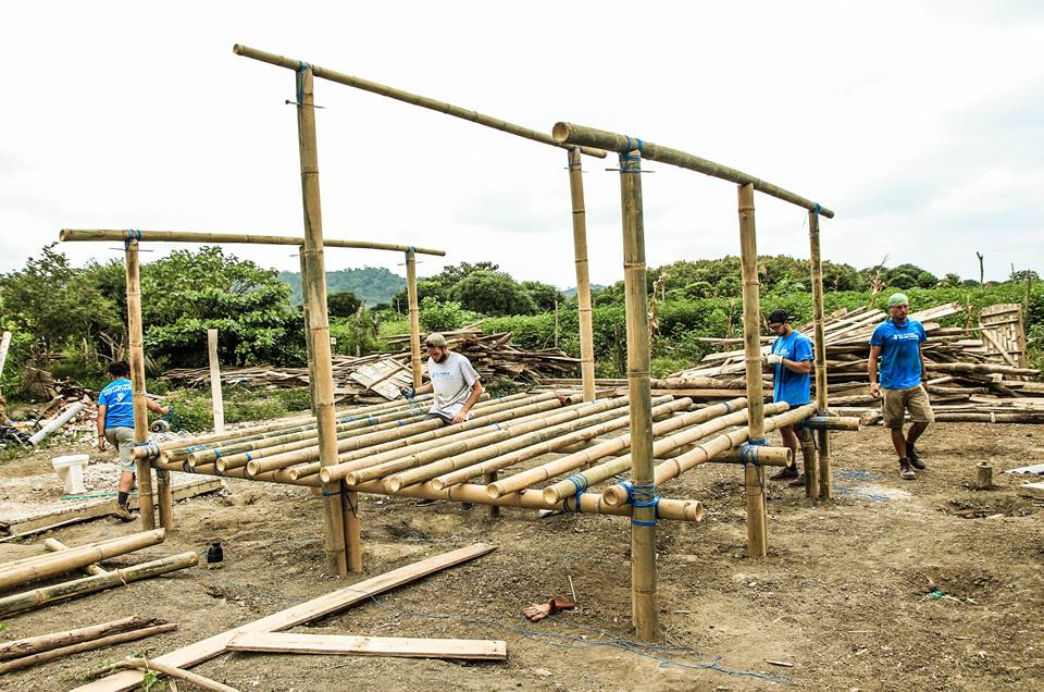 Bamboo home under construction. Photo credit: All Hands Volunteers